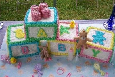 Baby shower cakes for Alphabet blocks cake decoration