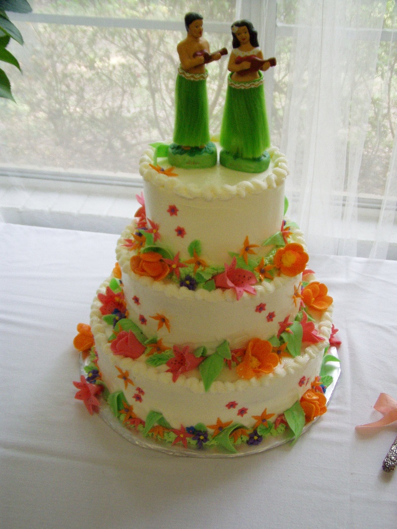 Hawaiian Themed Wedding Shower Cake