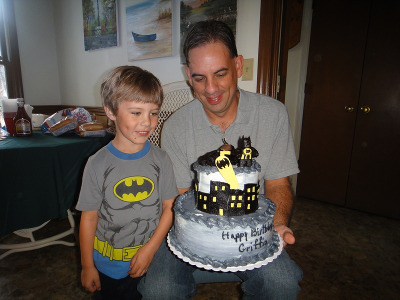 Griffin with his cake and his dad