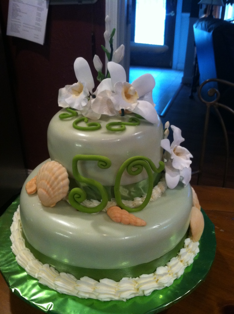 50th orchid and seashell Birthday